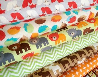 Woodland Pals Fabric Bundle of 7, Boy fabric, Nursery fabric, Deer Fabric, Fox fabric, Owl fabric by Robert Kaufman