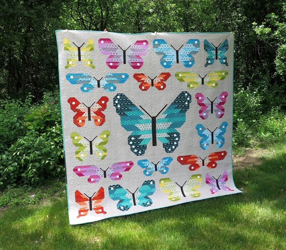 Free baby bed quilt patterns - New Lepidoptera Quilt Pattern By Elizabeth Hartman Fat Quarter Quilt Butterfly Quilt Baby Quilt Bed Quilt Dragonfly Quilt