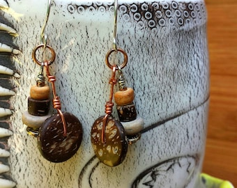 handcrafted boho gypsy chic sterling silver earrings with vintage wood and brass and glass beads on copper dangles