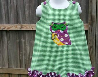 Mardi Gras Owl Ruffled Jumper