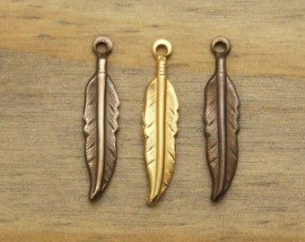 Tiny Brass Feather Charms - 6 or 12 pcs - Raw Brass - Hand Antiqued Brass - Hand Polished Brass - Choose Your Finish - Patina Queen