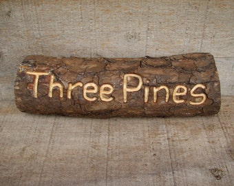 CARVED Rustic Organic Natural Salvaged Pine Branch Wooden Sign by Tanja Sova