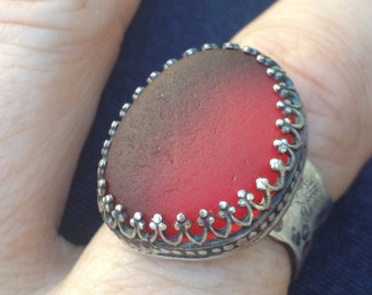 Romantic Red Sea Glass Artisan Ring