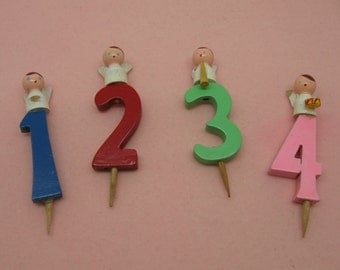 Set of Four Italian Painted Wooden Angel Number Birthday Cake Decorations