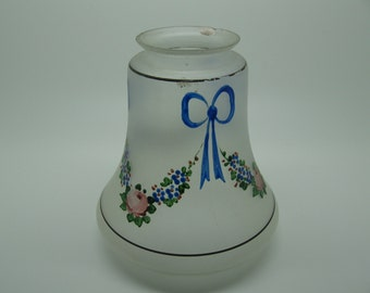 Vintage Frosted Glass Lampshade Painted with Florals and Bow