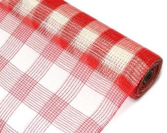 "Red and Cream Plaid Fabric Mesh 21"" - New Deco Mesh Fabric -   XB985-10"