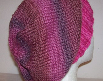 Wool/Nylon Slouch Hat - Slouchy Knit Beanie - Knitted Hipster Toque - Shades of Mauve