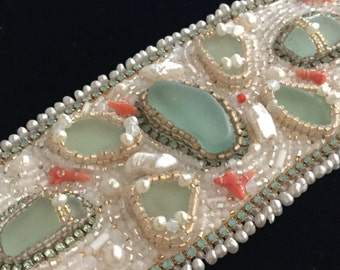 Seaside Gypsy Cuff with Sea Gems, AAA pearls, Branch Coral, Vintage Beads, and Opal Crystals