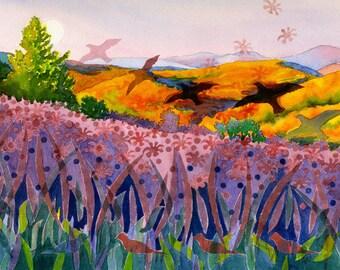 Original watercolor landscape painting, Gathering Season