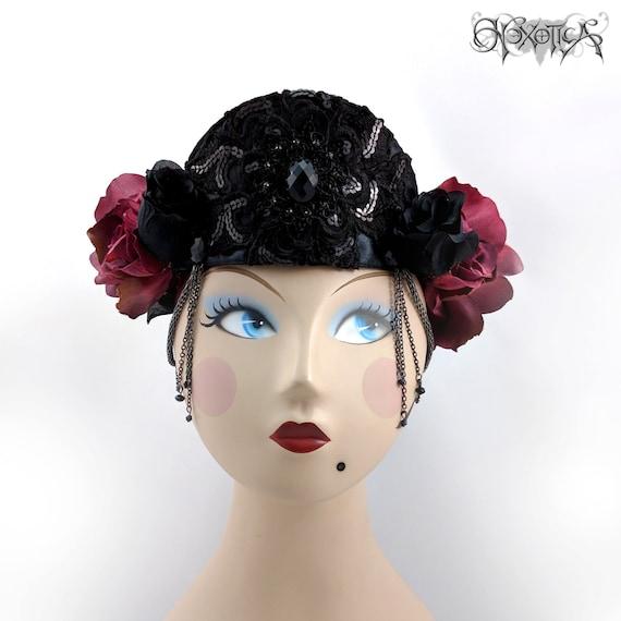 Black Flower Crown Gothic Flower Crown Black Flower: Black Tiara Flower Crown Gothic Red & Black Sequin