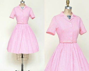30% OFF 1950s Day Dress --- Pink Gingham Cotton Dress