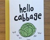Hello Cabbage A2 Greeting Card