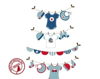 Navy and Red Baby Shower Clipart Clip art Laundry Line Clip Art