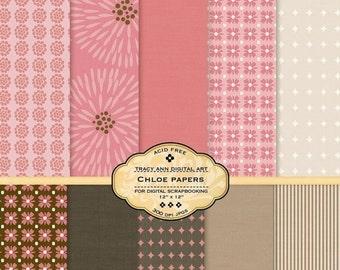 Chloe Digital Paper pack for invites, card making, digital scrapbooking - Chloe