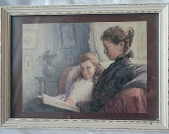 Vintage Lady Reading a Book with Her Daughter Art Print in Original Frame Mid Century