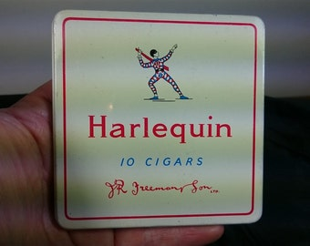 Vintage Harlequin Clown Cigar Tin Metal Box