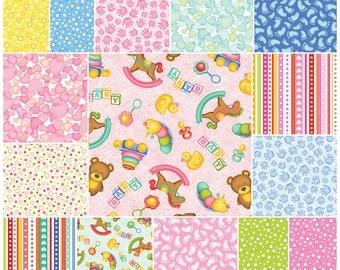 "SQ79 Benartex A MIRACLE Precut 5"" Charm Pack Fabric Quilting Cotton Squares Baby Nursery"