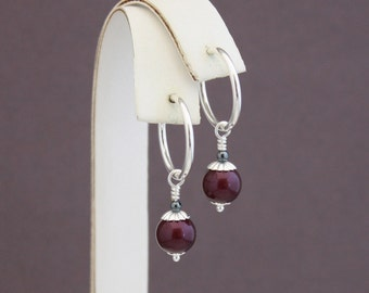 Clip hoop earrings, Blackberry pearls and Hematite by EarthsOpulence