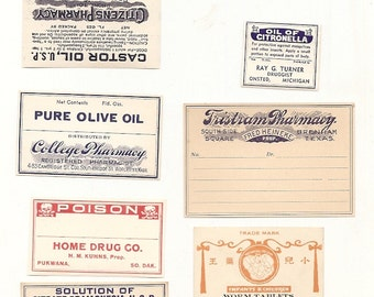 52 1930s plus Drugstore,Pharmacy ,Poison and Medicine Labels etc
