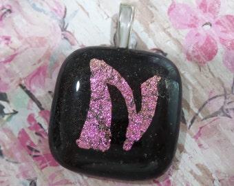 N Pendant, Pink Dichroic Pendant, N Initial Necklace, Letter N Pendant, Omega Slide, Alphabet, Fused Glass Jewelry - Initial N - -6