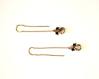 Long Gold Chain Thread Earrings / Long 14k Gold Thread Chain Earrings with Rutilated Quartz Gemstone / Geometric long Thread Chain Earrings