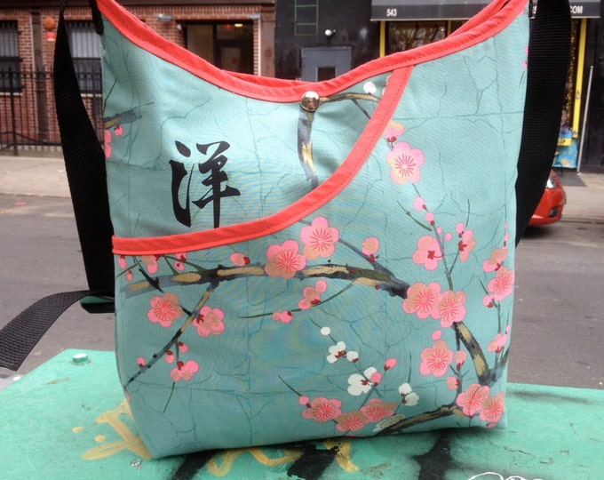 Featured listing image: Cotton Asian Print Cherry Blossom Market Bag, Hobo Sling Crossbody Japanese Print Messenger Bag