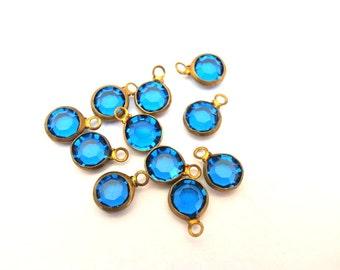 6 Dangling beads vintage Swarovski blue crystal Austrian crystal in brass channel 6mm crystals