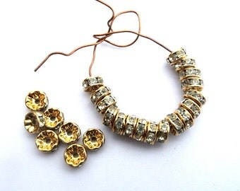 10 Vintage Swarovski rondelle beads clear crystal rhinestone on gold color base 5mm spacer beads