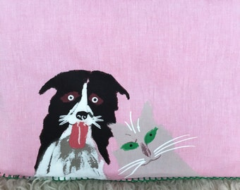 Australian shepherd and gray cat dog pet portrait pillow cover pink home decor cushion green eyes burmese