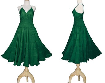 Long Green GYPSY PRINCESS Smock Maxi Cotton Dress Hippie Boho Plus Size 26 28 30 4x 5x  Gothic Medieval