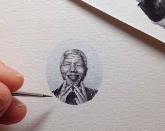 FRAMED Miniature Painting of Nelson Mandela by Brooke Rothshank