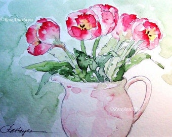 Red Tulips in Vintage Creamer Watercolor Painting Print Bouquet Flowers Floral Garden