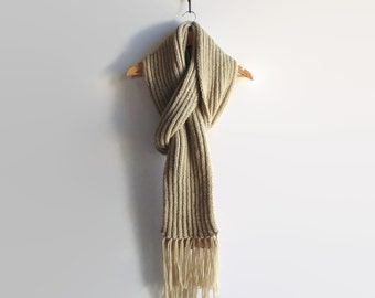 Long Scarf, Wool Scarf, Beige Scarf, Womens Scarves, Mens Scarf, Winter Scarf, Chunky Knit Scarf, Wrap Scarf, Hand Knit Scarf, Merino Scarf
