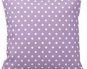 "POLKA DOTS On Lilac Purple  - Throw Pillow, Decorative Pillow, Pillow Cover, Pillow Insert, Pillow Case - SQUARE- 17"" x 17"" - Zipper Closure"