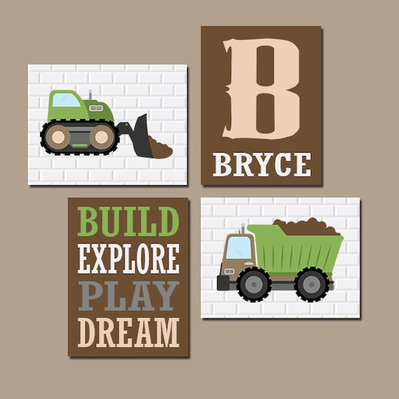 Wall Art CANVAS Or Prints Boy Nursery Decor Truck Theme Decor