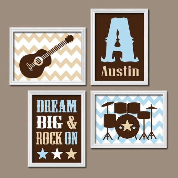 Guitar Wall Art Music Theme Baby Boy Nursery Decor Big Boy