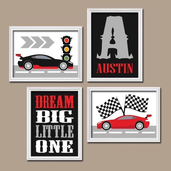 Car Nursery Wall Decor : Race car wall art canvas or prints cars boy nursery