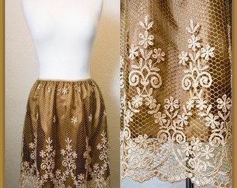 ON SALE Jasmine - An Absolutely Stunning and Unique Gold Metallic Lace Floral Skirt