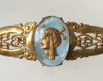 Vintage Egyptian Revival Pin Brooch on Filigree, Reverse Painted Glass Cameo on Brass