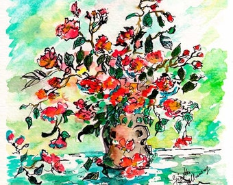 Watercolor Flowers in Vase Small Original Art by Ginette