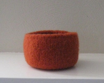 Pumpkin Orange Felted Wool Bowl - In Stock - Ready to Ship