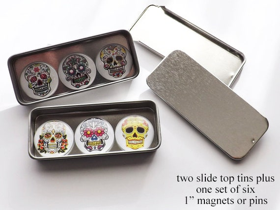 "Sugar Skulls Gift Set slide top tins six 1"" fridge magnets pins stocking stuffers geek goth day of the dead halloween dia de los muertos"