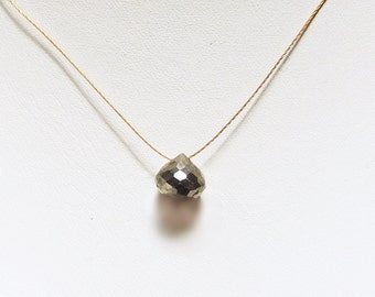Pyrite Onion Briolette Cord Necklace, Faceted Fools Gold, Minimalist Jewelry, Wabi-Sabi Pendant, Zen Gemstone Card, 14k Gold Filled Clasp
