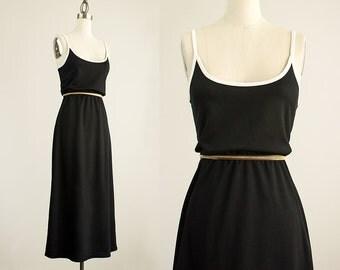 90s Vintage Black And White Express Tricot Tunic Maxi Sun Dress / Size Medium