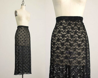90s Vintage Black Lace Maxi Length Skirt / Size Extra Small / Small