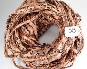 Sari silk Ribbon, Recycled Silk Sari Ribbon, Peach sari ribbon, Block print Sari Ribbon