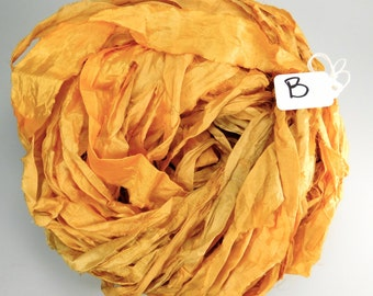 Sari Silk Ribbon, Recycled Silk Sari Ribbon, yellow Ribbon, orange sari ribbon