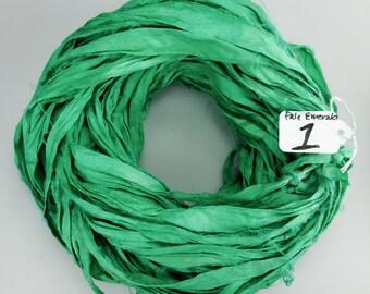 Sari silk Ribbon, Silk Sari Ribbon, Emerald green recycled ribbon, emerald green ribbon