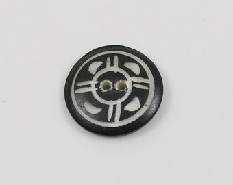 Vintage Carved & Dyed Black White Button