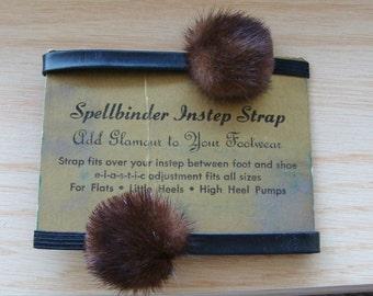 Vintage Mink Fur Spellbinder Instep Strap Shoe Accessories Elastic Strap